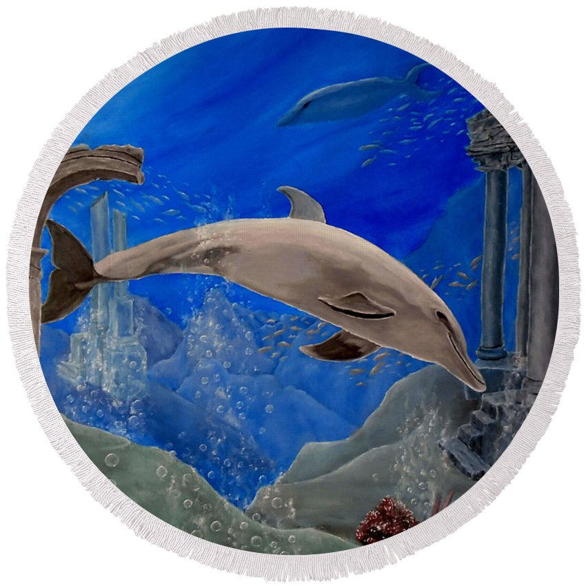 Dolphin Round Beach Towel featuring the painting Ocean Splendor by Faye Anastasopoulou