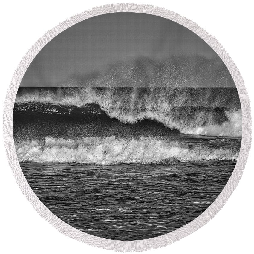 Photography Round Beach Towel featuring the photograph Ocean Spray by Raven Steel Design