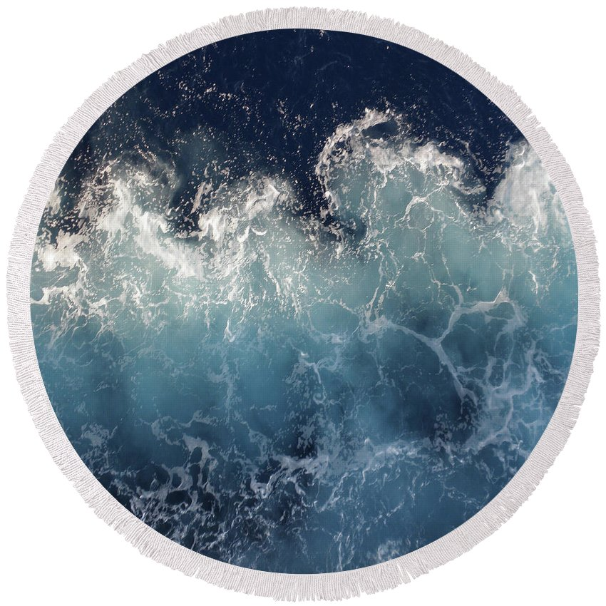 Oceans Round Beach Towel featuring the digital art Ocean Spray by Suzanne Carter