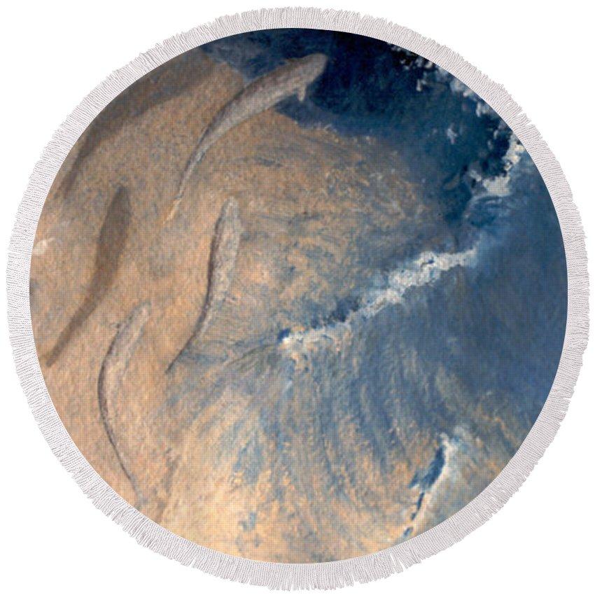Seascape Round Beach Towel featuring the painting Ocean by Steve Karol