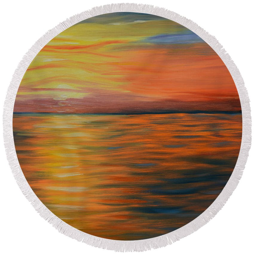 Ocean Painting   Ocean Sunset   Oil Painting   Abstract Art   Impressionism   Contemporary Art   Kathy Symonds   Colorado Artist   Artbykatsy Round Beach Towel featuring the painting Ocean Sunrise- Oil Painting- Abstract Art by Kathy Symonds