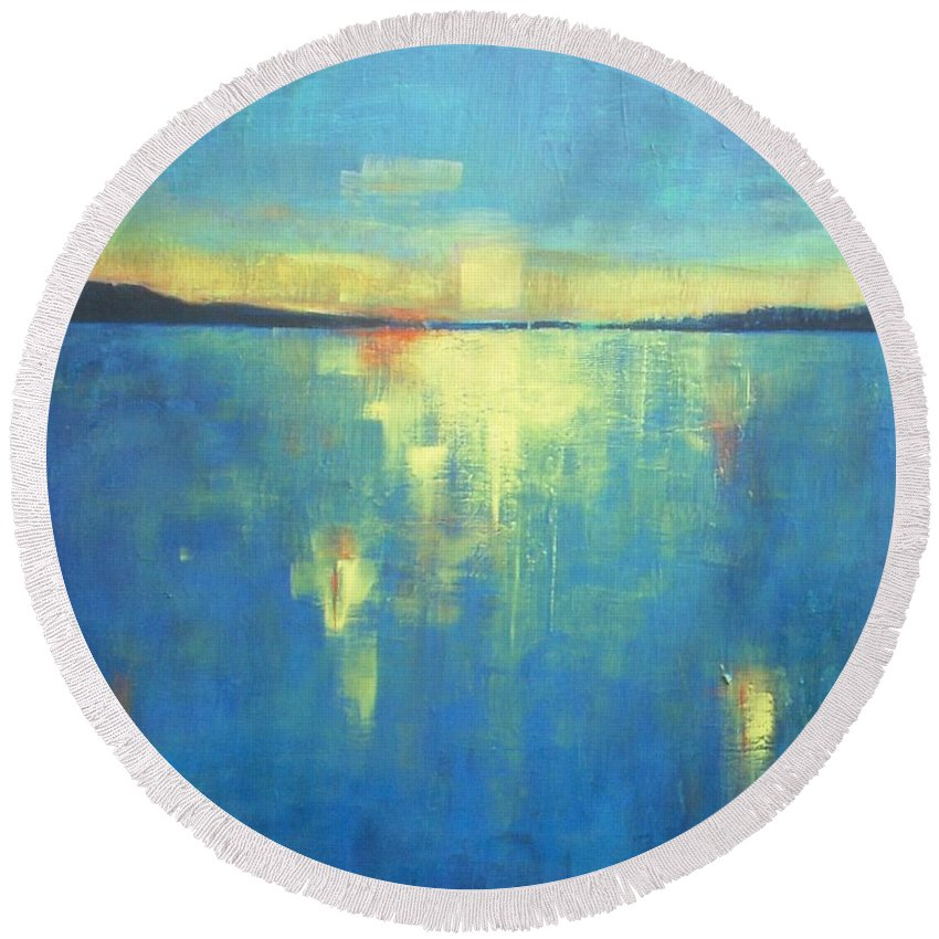 Seascape Round Beach Towel featuring the painting Ocean Sunset by Vesna Antic
