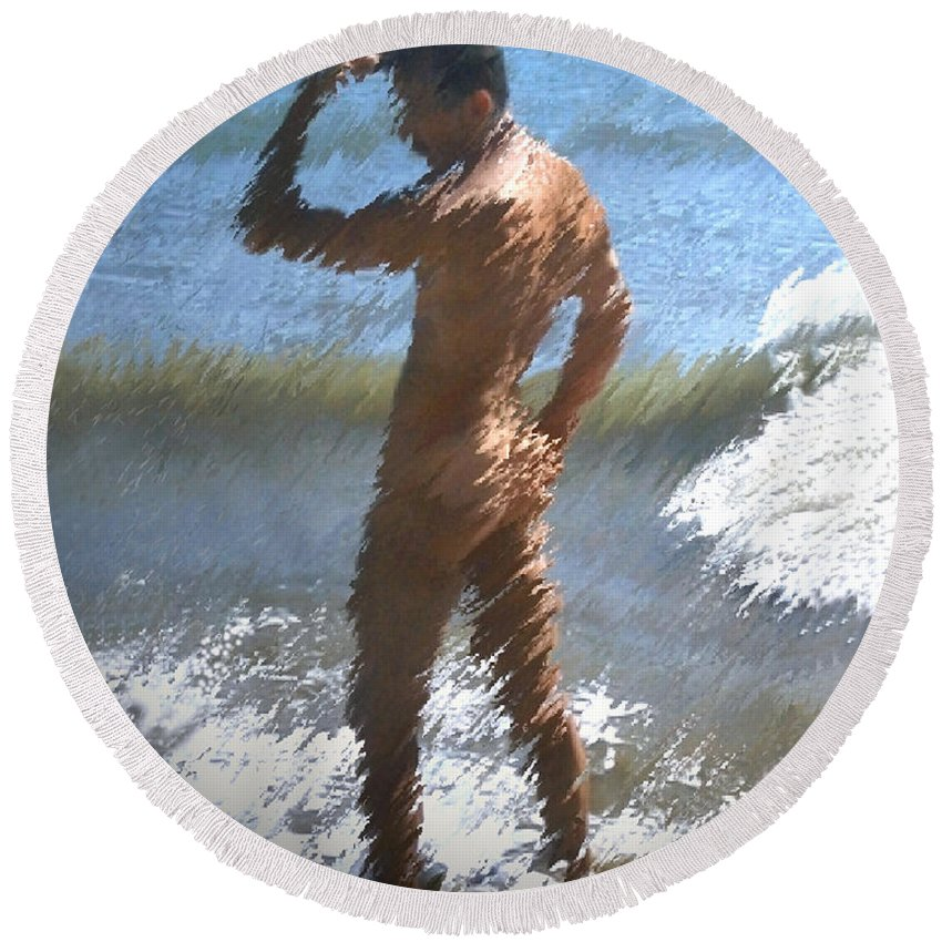 Nudes Round Beach Towel featuring the photograph Ocean Thoughts by Kurt Van Wagner