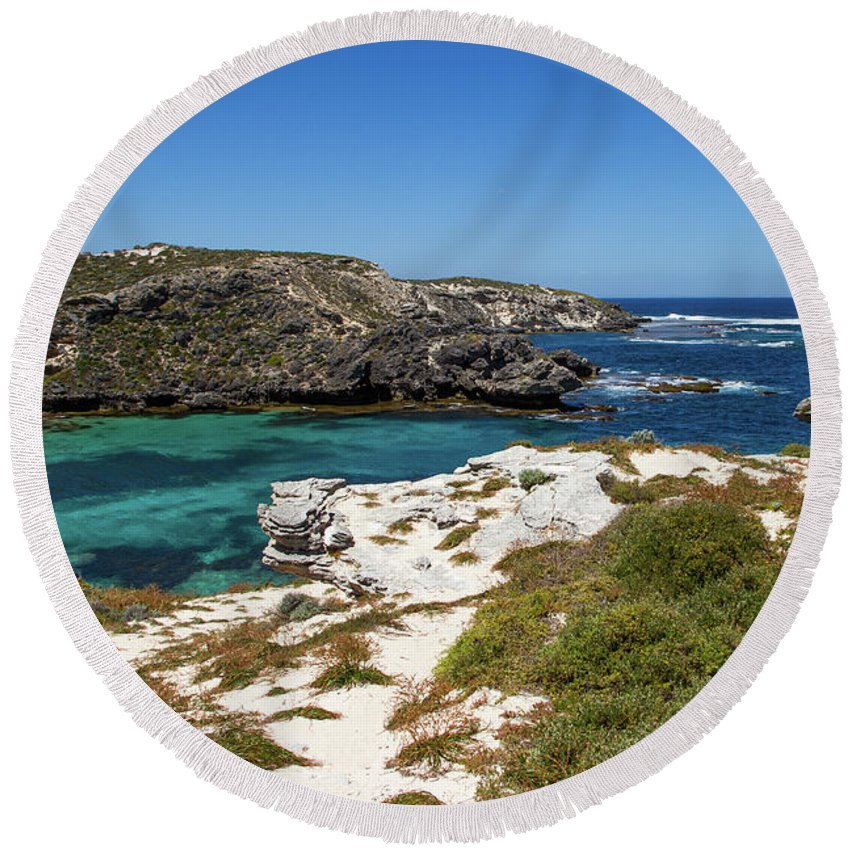 Ocean Round Beach Towel featuring the photograph Ocean Water And Rocks by Josephine Cleopahrt