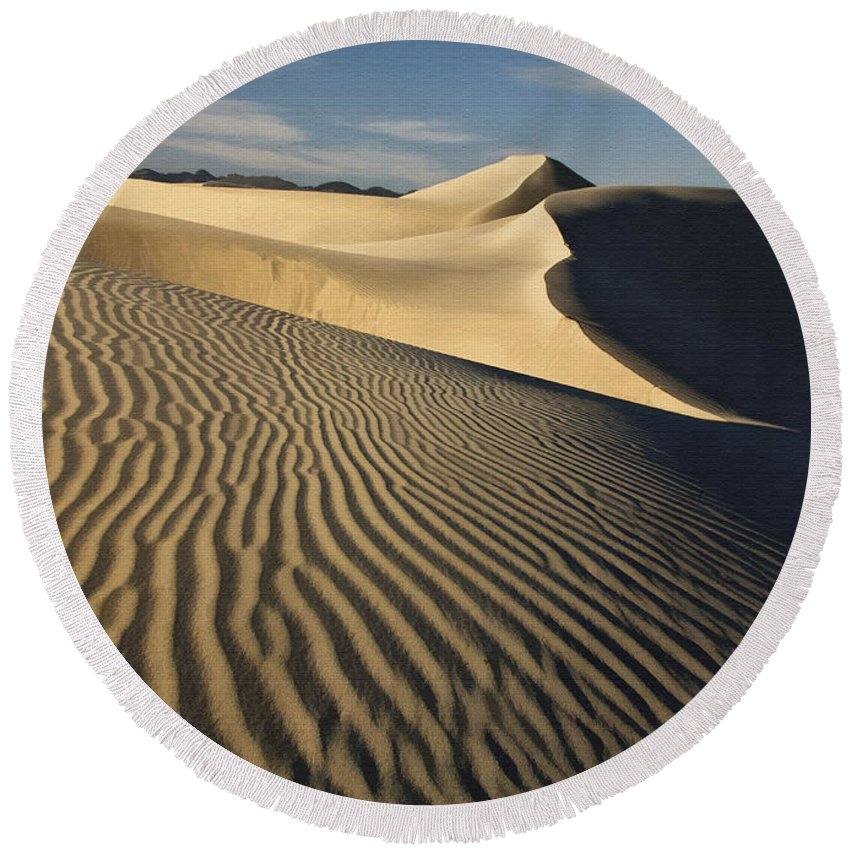 Landscape Round Beach Towel featuring the photograph Oceano Dunes by Sharon Foster