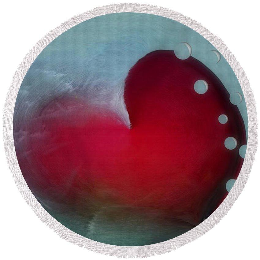 Hearts Round Beach Towel featuring the digital art Oceans Heart by Linda Sannuti