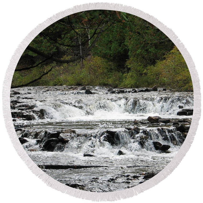 Waterfall Round Beach Towel featuring the photograph Ocqueoc by Kelly Mezzapelle