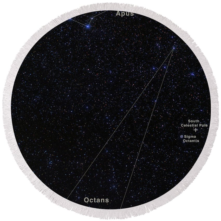 Faint Constellations Round Beach Towel featuring the photograph Octans, Apus, South Celestial Pole by Babak Tafreshi