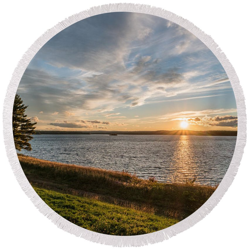 Sunset Round Beach Towel featuring the photograph October Awe by Ronald Raymond