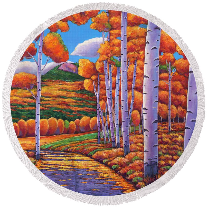 Autumn Aspen Round Beach Towel featuring the painting October Enclave by Johnathan Harris