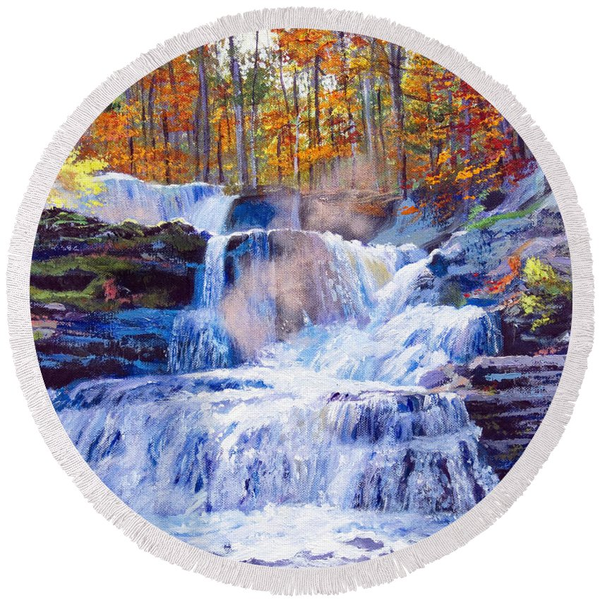 Impressionism Round Beach Towel featuring the painting October Falls by David Lloyd Glover