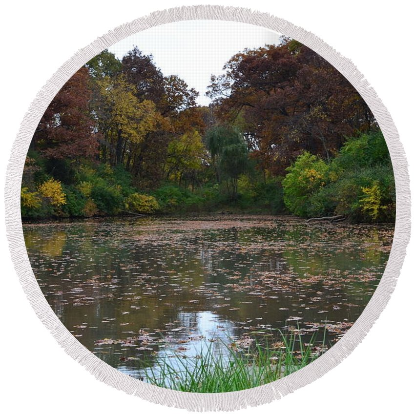 Farm Pond Round Beach Towel featuring the photograph October Leaves by Tammy Mutka