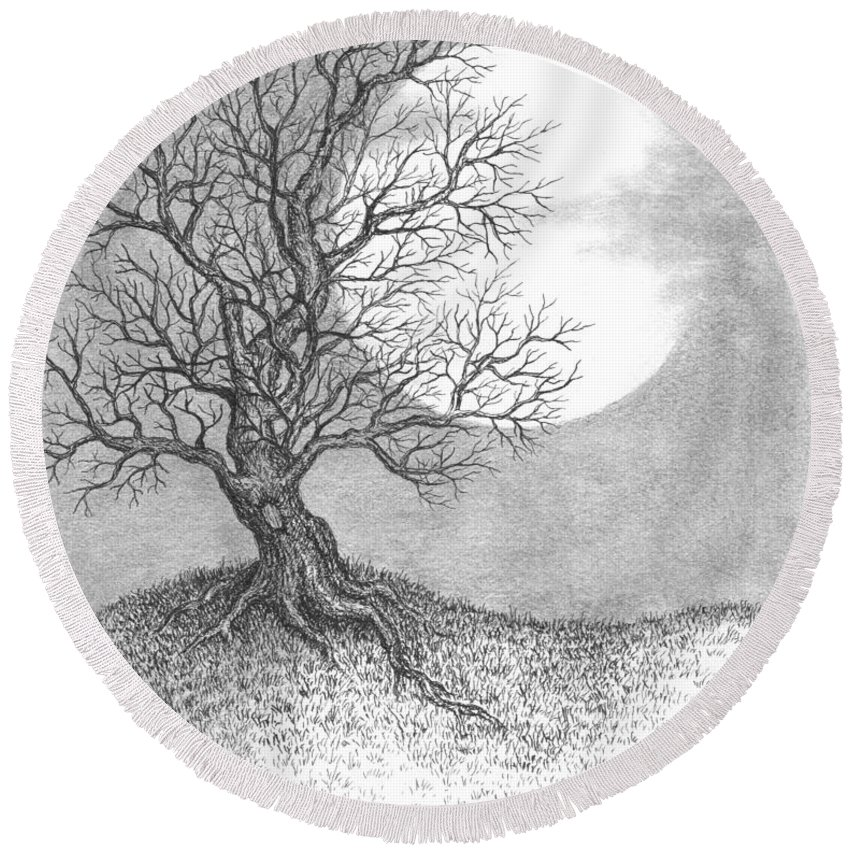 Pen And Ink Round Beach Towel featuring the drawing October Moon by Adam Zebediah Joseph