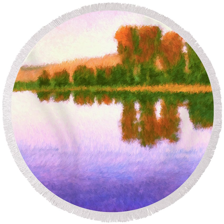October Morning Round Beach Towel featuring the painting October Morning by Dominic Piperata