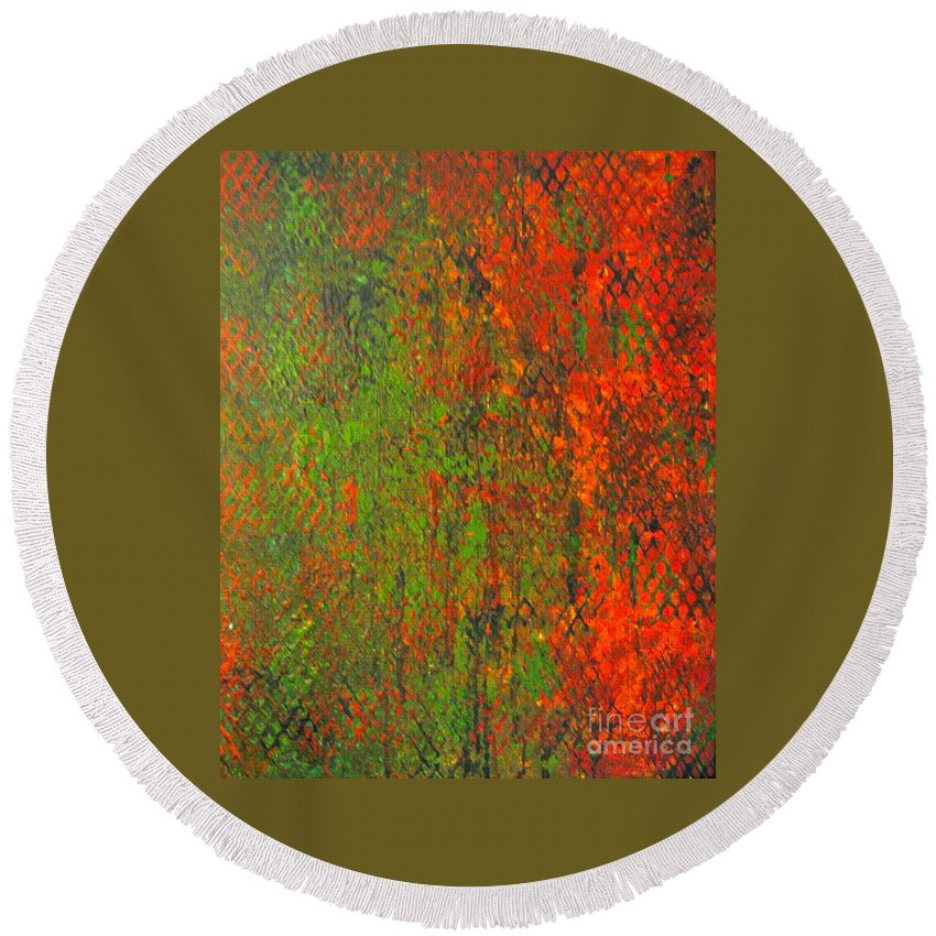 Heart Round Beach Towel featuring the painting October Rust by Jacqueline Athmann