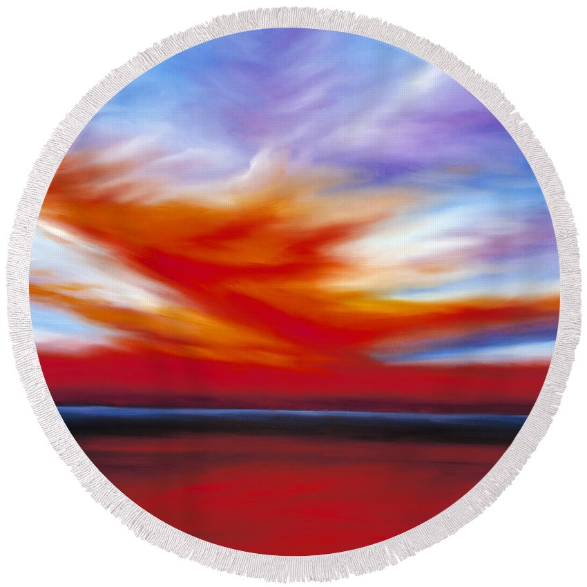 Seascape Round Beach Towel featuring the painting October Sky II by James Christopher Hill