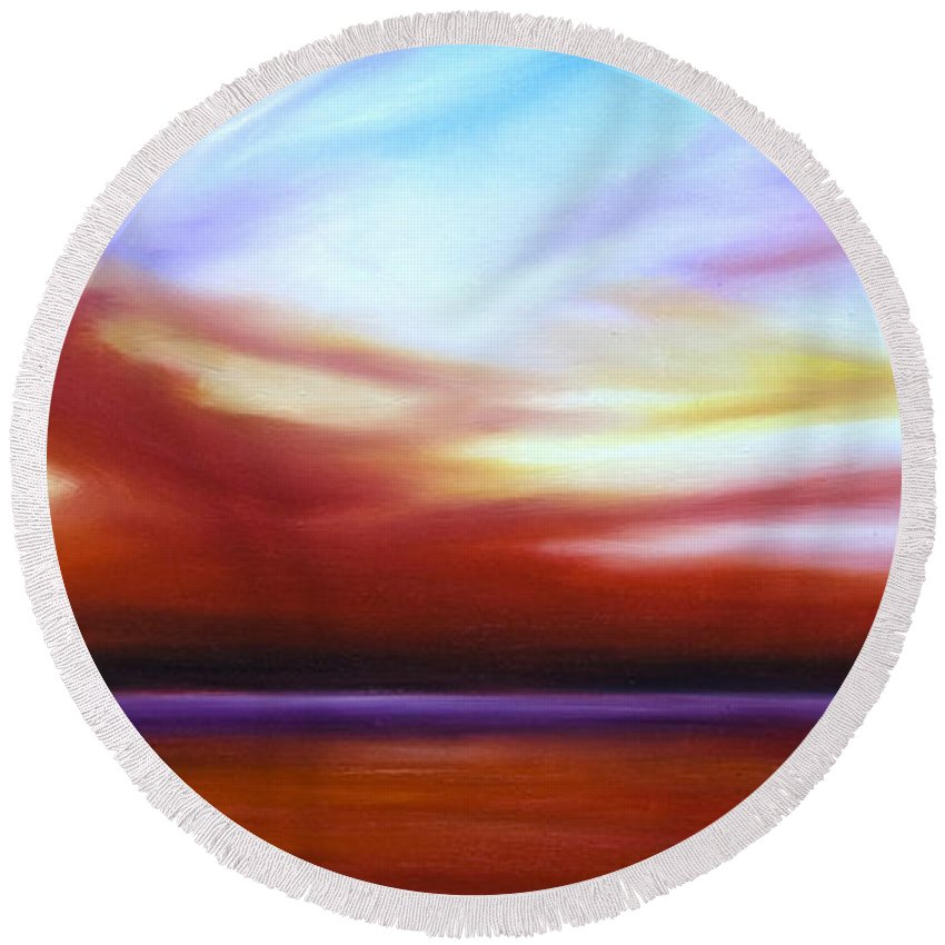 Skyscape Round Beach Towel featuring the painting October Sky III by James Christopher Hill