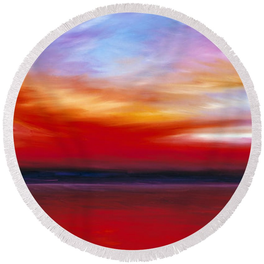 Clouds Round Beach Towel featuring the painting October Sky by James Christopher Hill