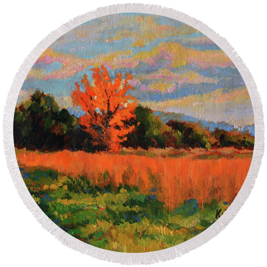 Impressionism Round Beach Towel featuring the painting October Sky by Keith Burgess