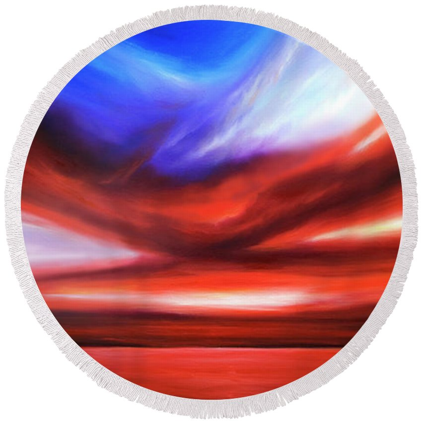 Sunrise; Sunset; Power; Glory; Cloudscape; Skyscape; Purple; Red; Blue; Stunning; Landscape; James C. Hill; James Christopher Hill; Jameshillgallery.com; Ocean; Lakes; Storm; Tornado; Lightning Round Beach Towel featuring the painting October Sky V by James Christopher Hill