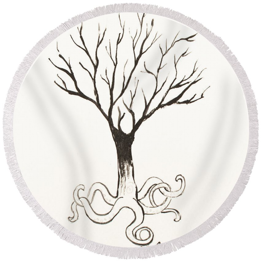 Tree Round Beach Towel featuring the painting Octopus Tree by Stefanie Forck