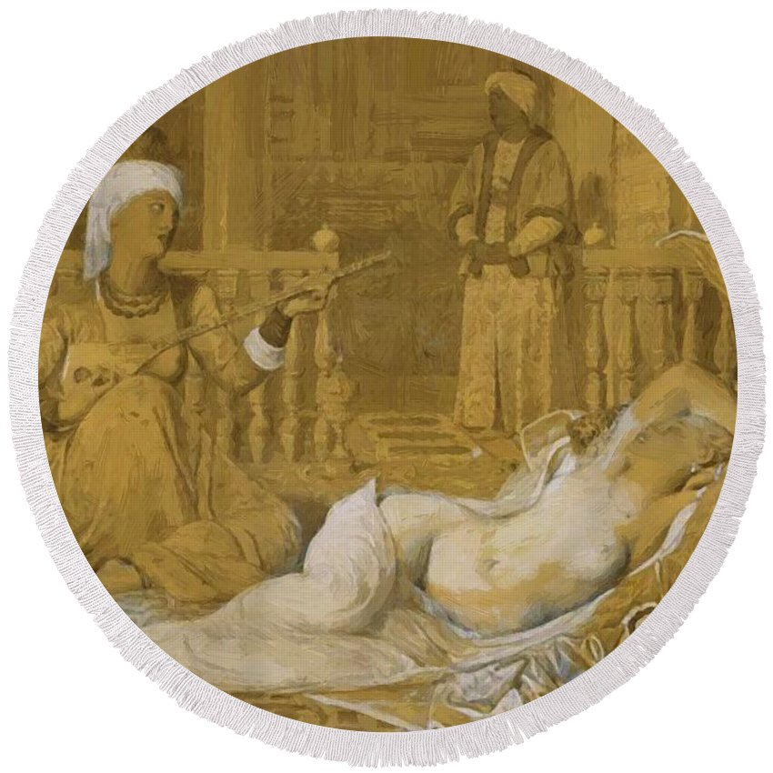 Odalisque Round Beach Towel featuring the painting Odalisque With Slave by Ingres Jean Auguste Dominique