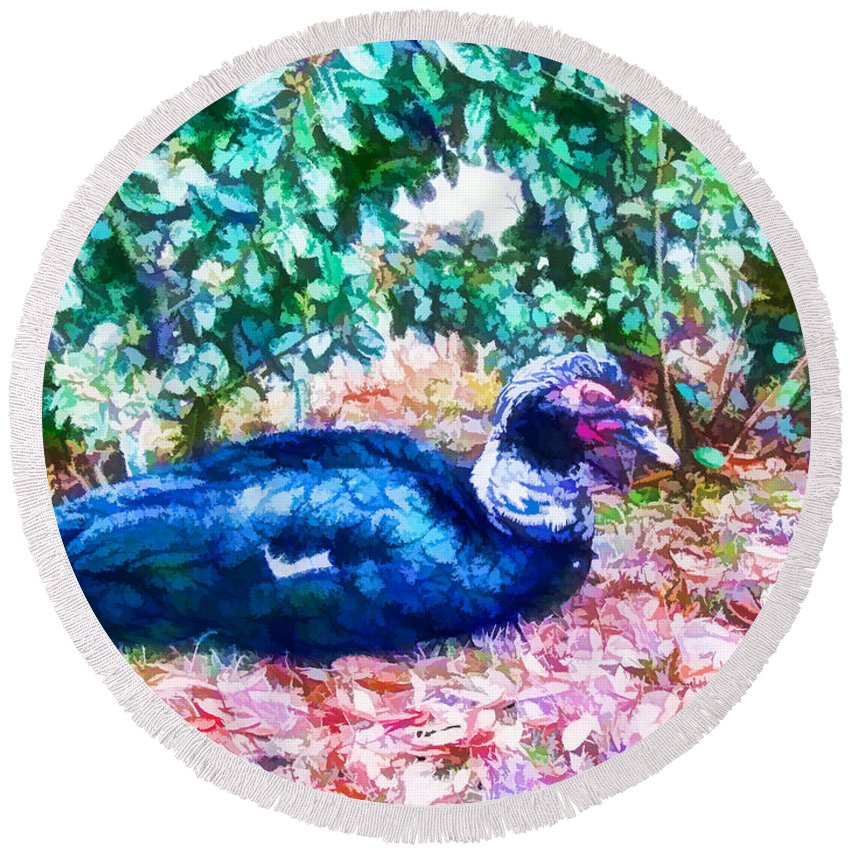 Profile Round Beach Towel featuring the painting Odd Looking Duck In Swansboro Nc 3 by Jeelan Clark