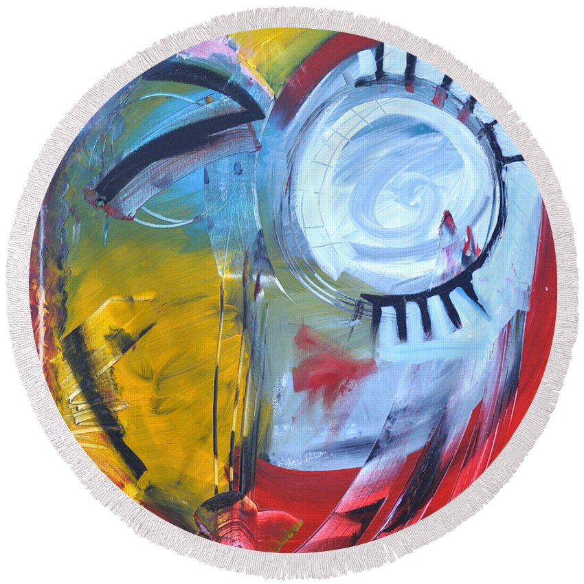Jim Dine Round Beach Towel featuring the painting Ode To Jim Dine by Tim Nyberg