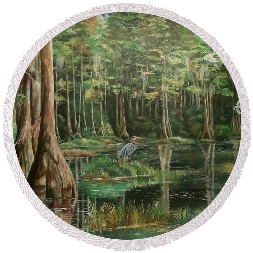 Florida Wildlife And Landscape Myakka River Round Beach Towel featuring the painting Ode To Robert Butler by Sam Butler