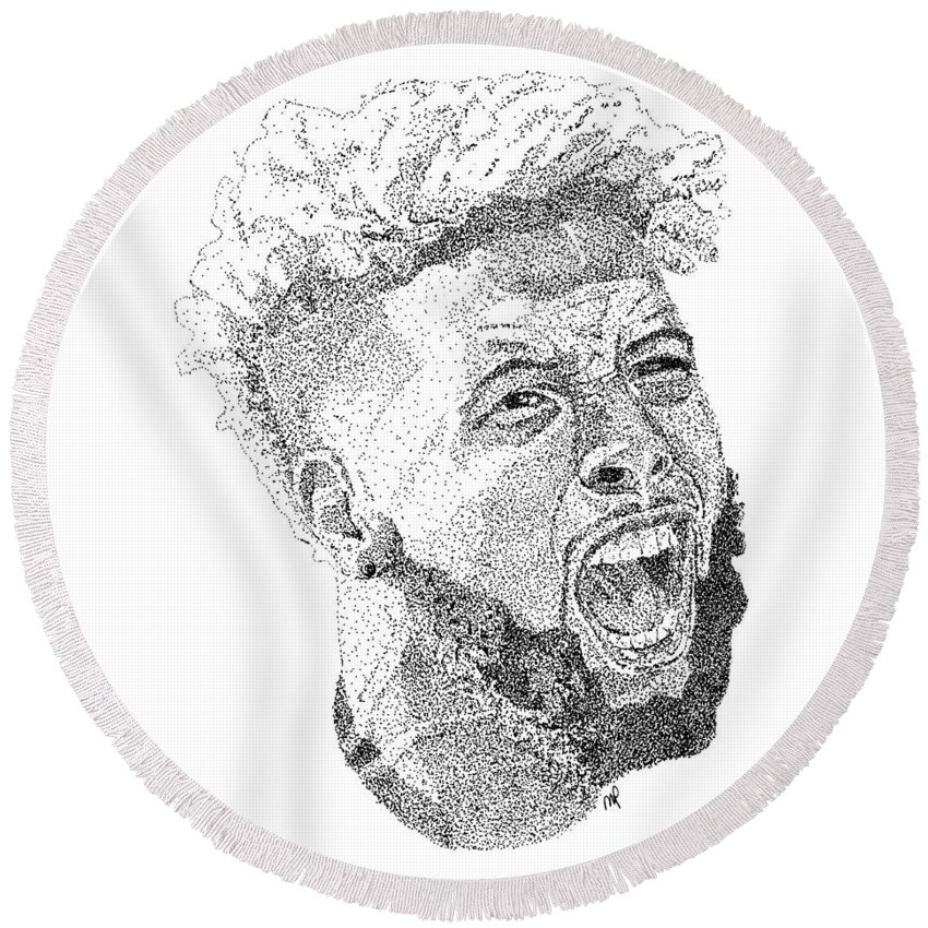 Fan Art Round Beach Towel featuring the drawing Odell Beckham Jr. by Marcus Price