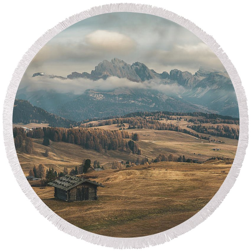 Odle Mountains Round Beach Towel featuring the photograph Odle Mountains - Alpe Di Siusi by Elias Pentikis
