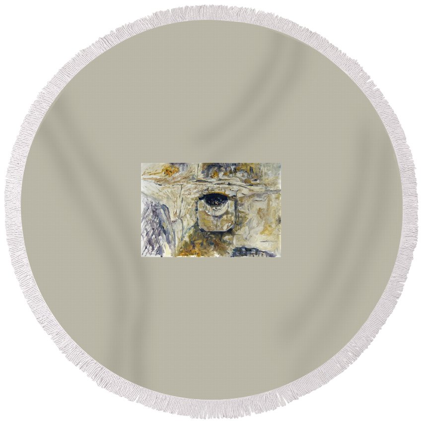 Landscape Round Beach Towel featuring the painting Odvodnovaci Kanal by Pablo de Choros