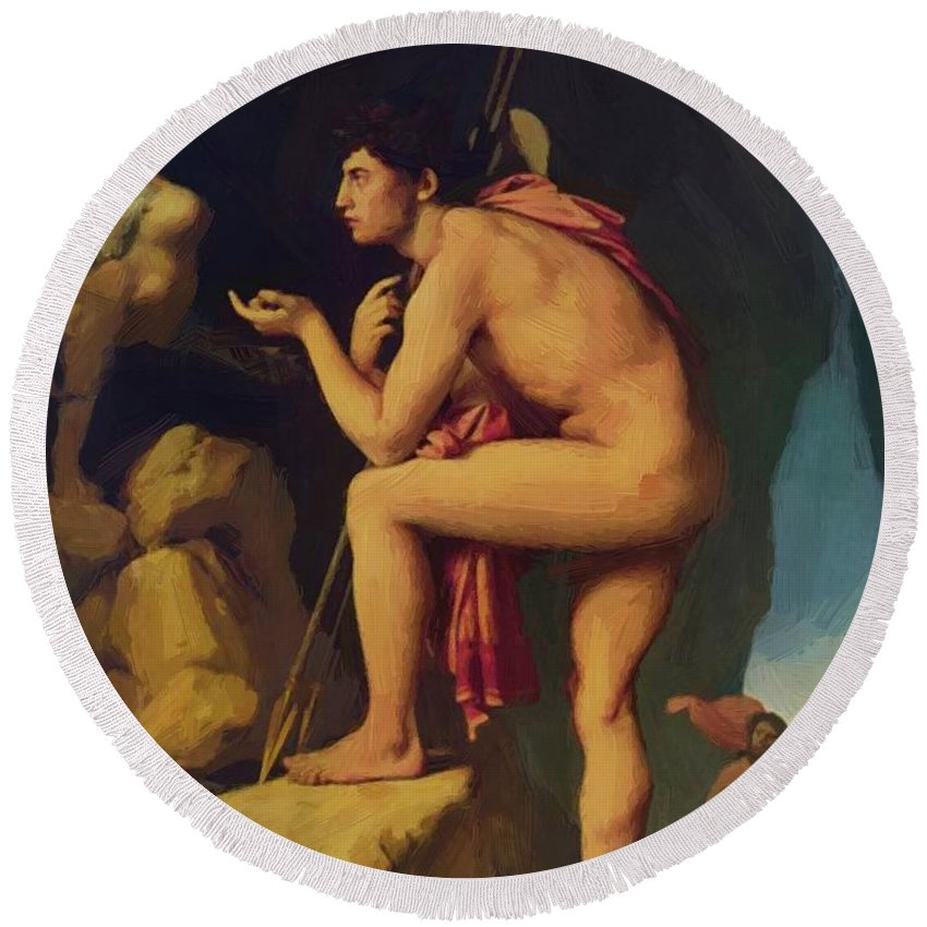 Oedipus Round Beach Towel featuring the painting Oedipus And The Sphinx 1808 by Ingres Jean Auguste Dominique