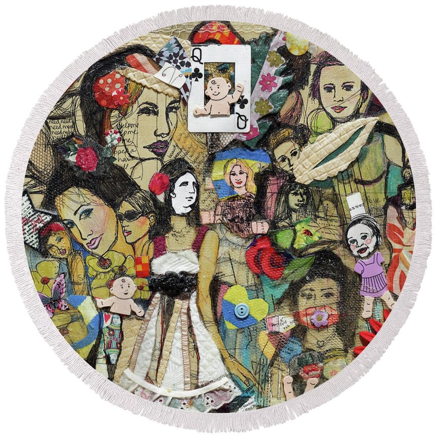 Girl's Bedroom Round Beach Towel featuring the painting Of Babes And Butterflies by Jacqueline Kern