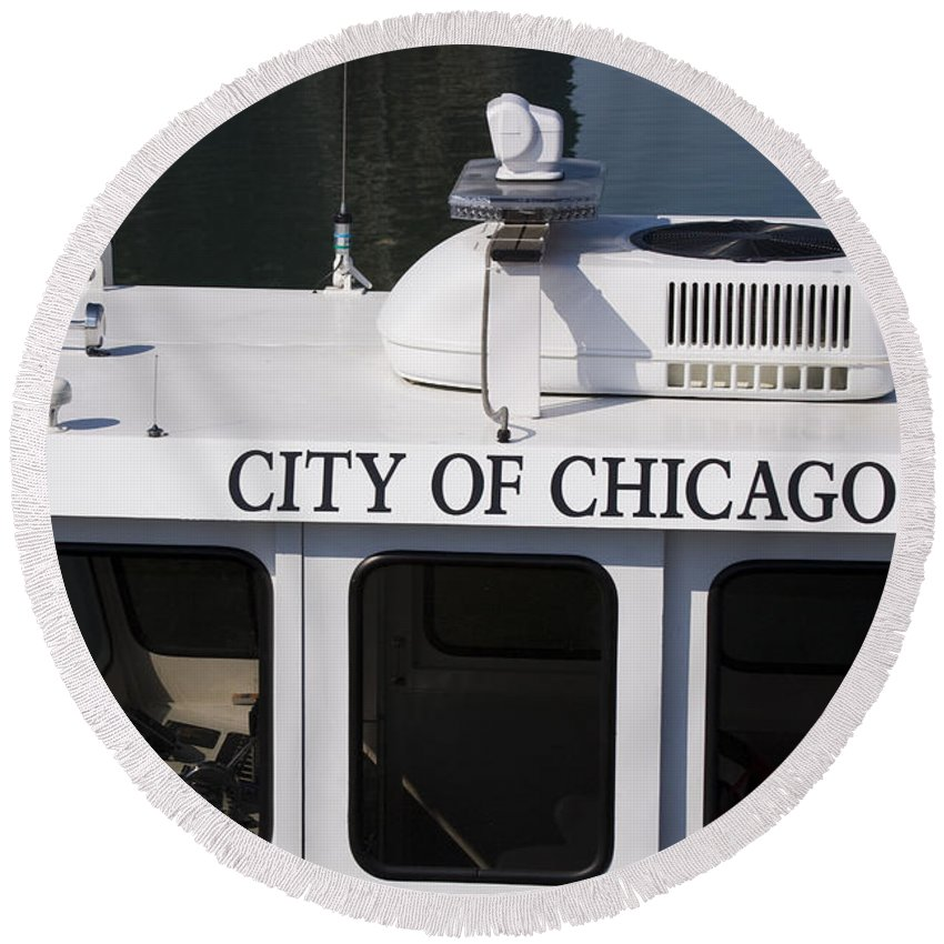 Chicago Windy City Police Boat Lake Michigan Water White Round Beach Towel featuring the photograph Off Duty by Andrei Shliakhau