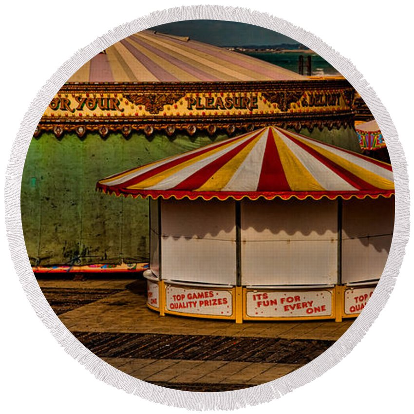 Carousel Round Beach Towel featuring the photograph Off Season by Chris Lord
