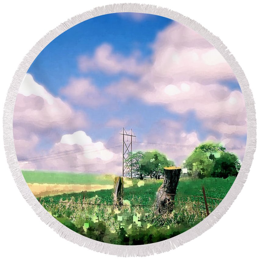 Landscape Round Beach Towel featuring the photograph Off The Grid by Steve Karol
