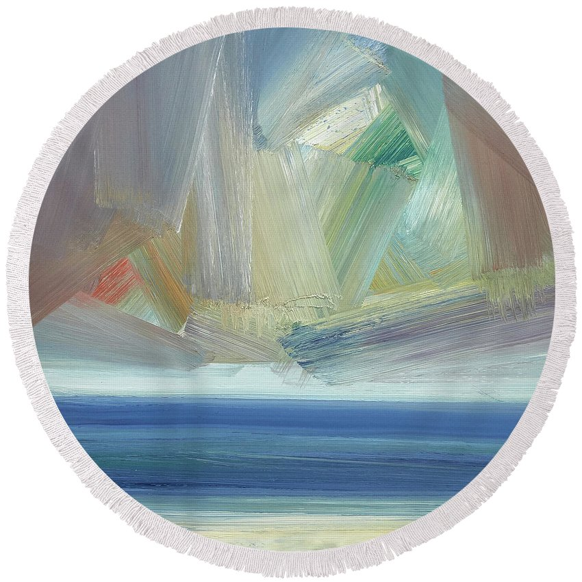 Abstract Round Beach Towel featuring the painting Offshore, Ross Sands by Timothy Gent