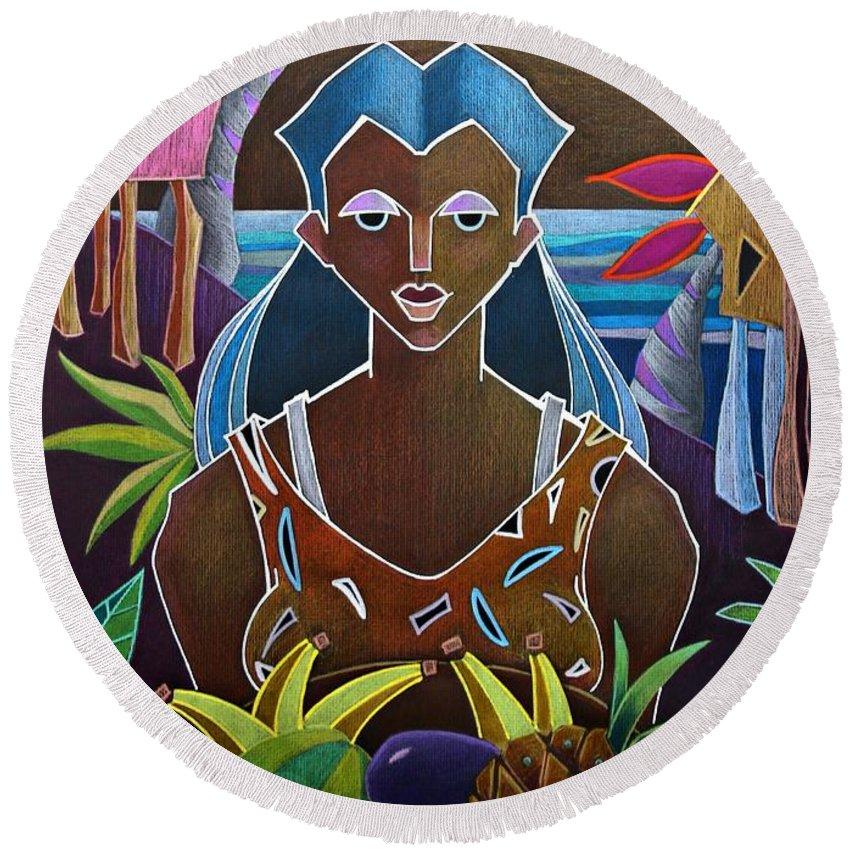Girl Round Beach Towel featuring the painting Ofrendas De Mi Tierra II by Oscar Ortiz