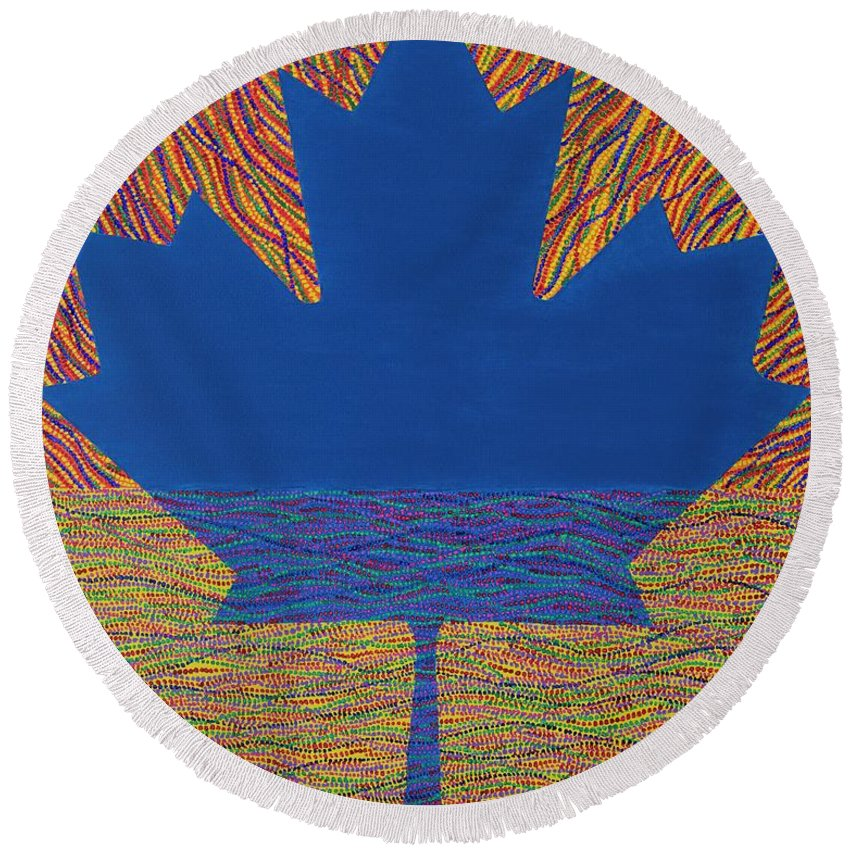 Modern Round Beach Towel featuring the painting Oh Canada 2 by Kyung Hee Hogg
