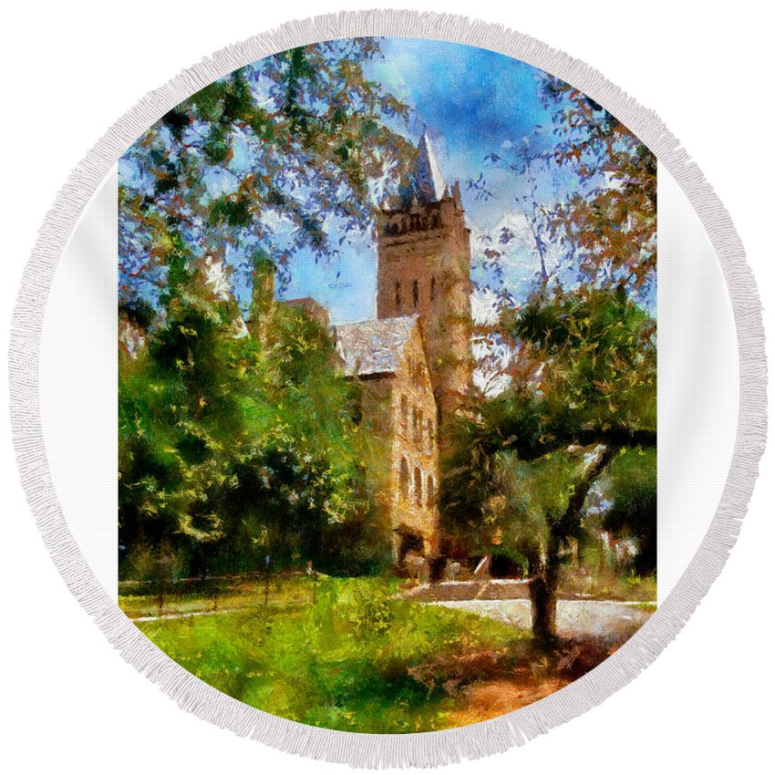 Ohio Wesleyan University Chapel Round Beach Towel featuring the painting Ohio Wesleyan Chapel by Betsy Foster Breen
