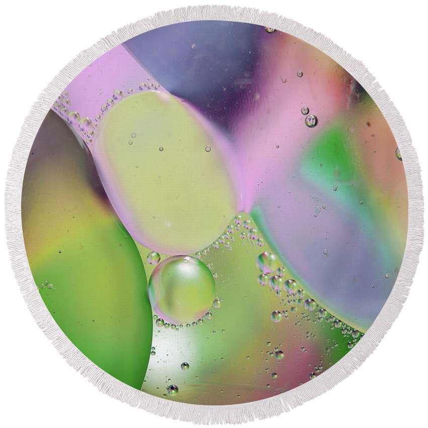 Abstract Round Beach Towel featuring the photograph Oil 3 by Michael Peychich