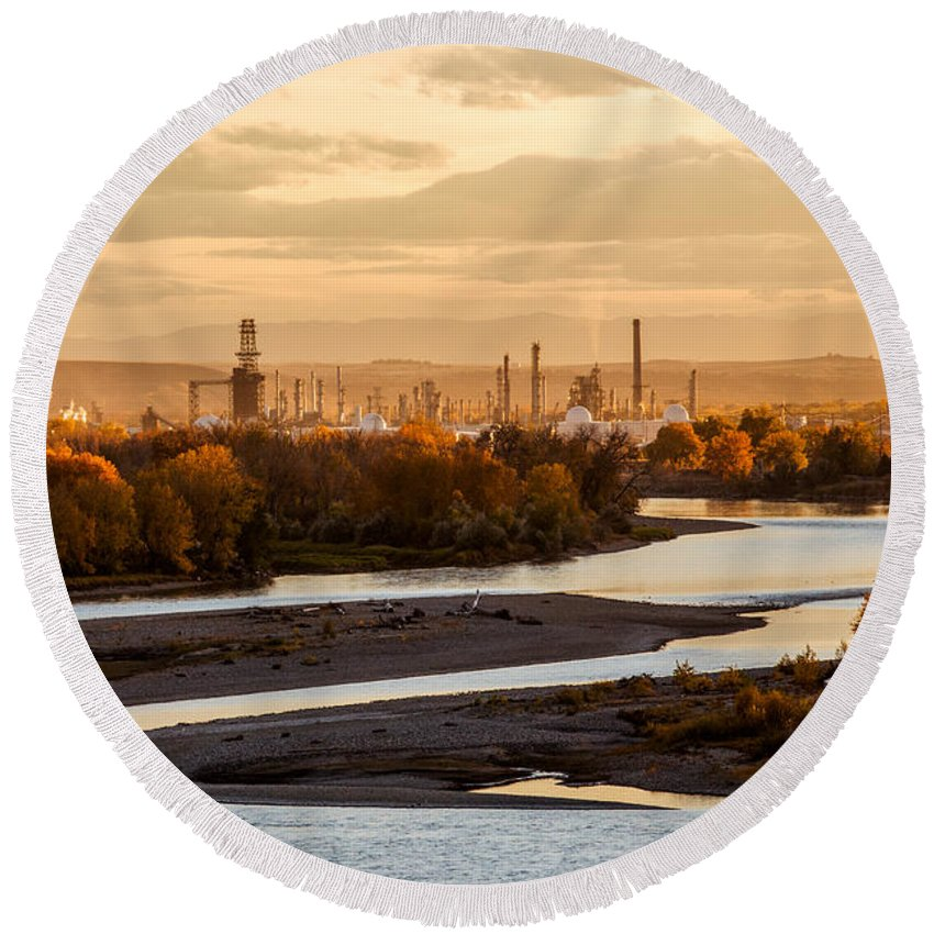 Billings Round Beach Towel featuring the photograph Oil Refinery At Sunset by Todd Klassy