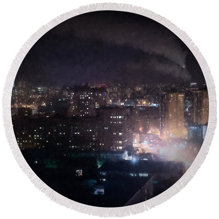 Oil Round Beach Towel featuring the photograph Oil Style City At Night Image by John Williams