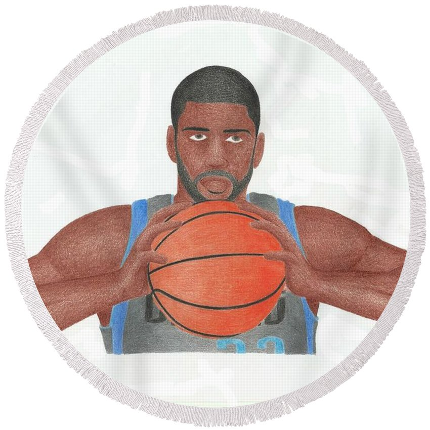 Basketball Round Beach Towel featuring the drawing O.j Mayo by Toni Jaso