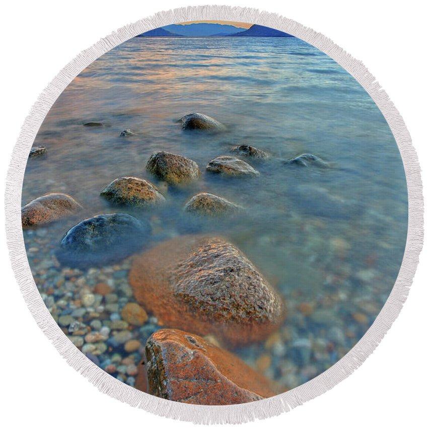 Okanagan Round Beach Towel featuring the photograph Okanagan Centre Evening by Darrel Giesbrecht