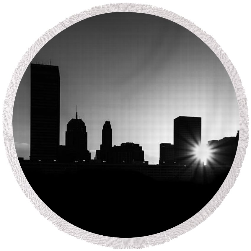 Skyline Round Beach Towel featuring the photograph Oklahoma City by Betty LaRue