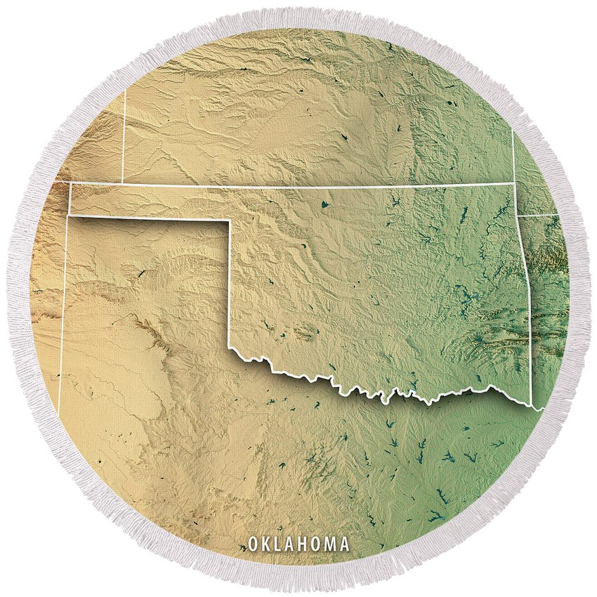 Oklahoma State Usa 3d Render Topographic Map Border Round Beach ...