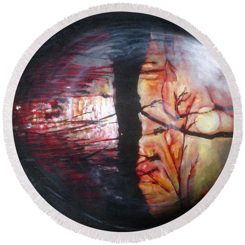 Landscape Round Beach Towel featuring the painting Oko Machac by Pablo de Choros