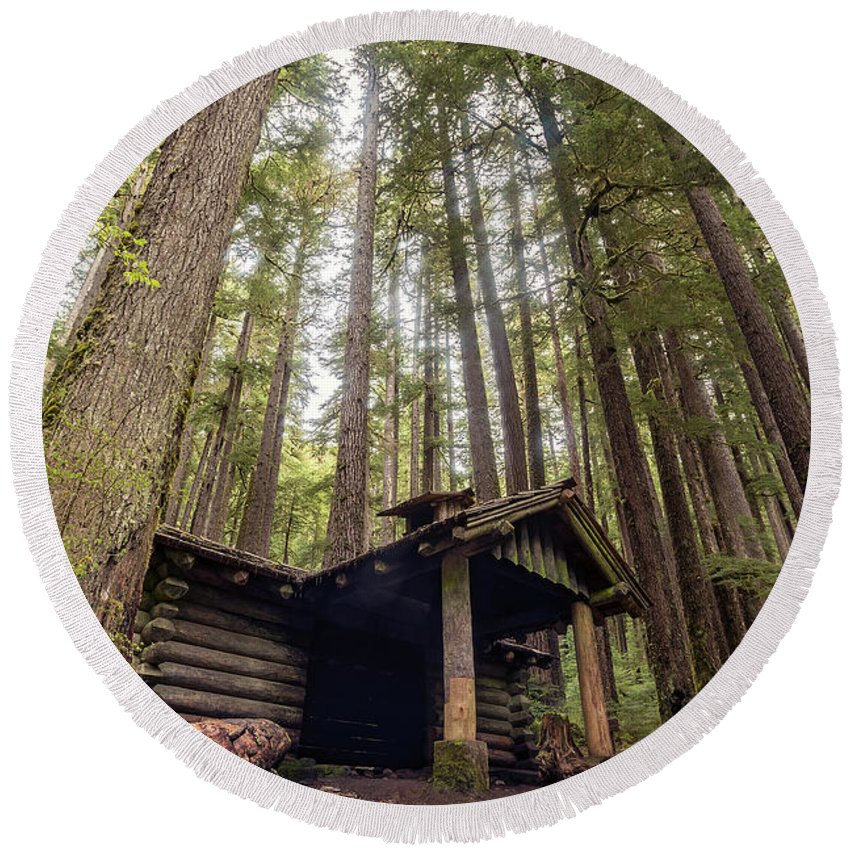 Olympic National Park Round Beach Towel featuring the photograph Old Abandoned Cabin In The Woods by Brandon Alms